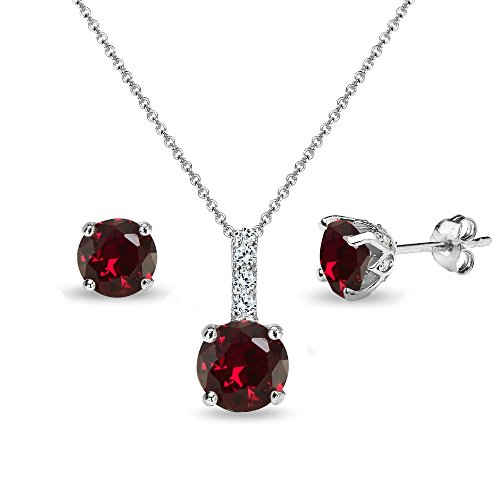 Sterling Silver Created Ruby & White Topaz Round Crown Stud Earrings & Necklace Set