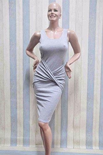 las mujeres de algodón sin mangas atractiva S caderas paquete cuello del vestido vestidos de partido de Clubwear