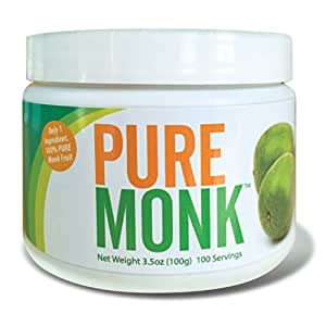 Pure Monk ( Monk Fruit ) 100 Servings 3.5 oz Paleo Sugar Free Sweetener