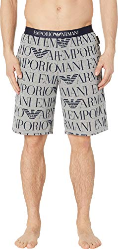 Emporio Armani Men's Logomaniac Terry Bermuda Printed Melange Grey Small