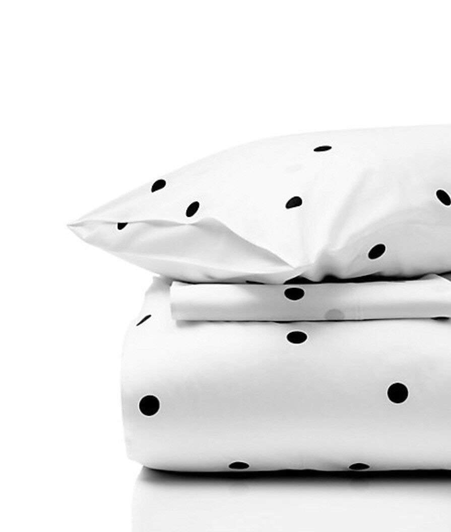 Kate Spade 4 Piece Mini Deco Dot Sheeting Queen Size Sheet Set 100% Cotton Black and White