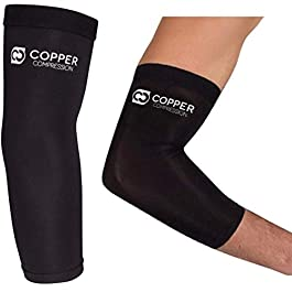 Copper Compression Recovery Elbow Sleeve – Guaranteed Highest Copper Content Elbow Brace for Tendonitis, Golfers or…