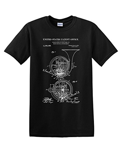 Thread Science French Horn Patent Music Musician Band Vintage Musical Instrument Mens Graphic Tee Adult T-Shirt (Black, Medium)