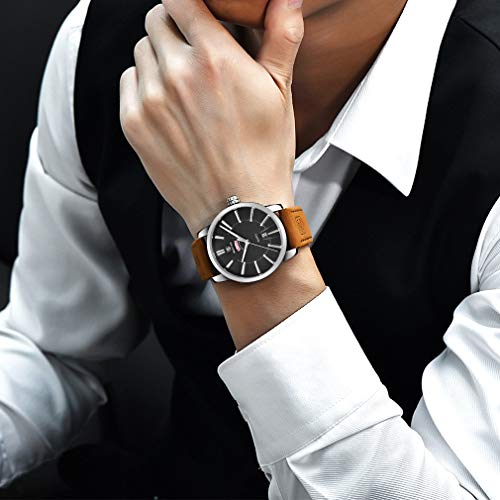 BENYAR Classic Casual Elegant Business Watch Sport Waterproof Brown Leather Band Date Wrist Mens Watches 5101M