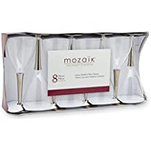 Mozaik Premium Plastic Silver Stemmed Wine Glass, 8 count