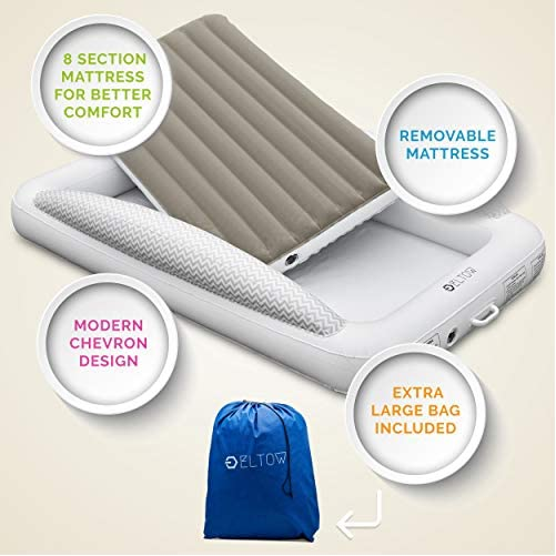 Eltow Inflatable Toddler Air Mattress Bed With Safety Bumper - Portable, Modern Travel Bed, Cot for Toddlers - Perfect For Travel, Camping - Removable Mattress, High Speed Pump and Travel Bag Included 5