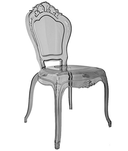 Fine Ghost Dining Chair Vanity Dressing Room Smoky Grey Clear Transparent Bedroom Makeup Seat Dining Polycarbonate Plastic Acrylic Belle French Louis Gmtry Best Dining Table And Chair Ideas Images Gmtryco