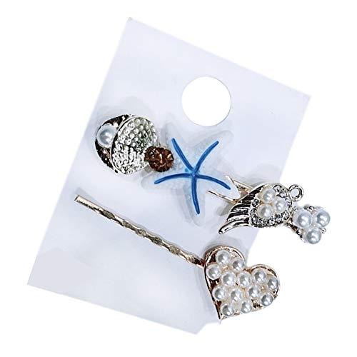 2Pcs/Set Starfish Shell Leaf Heart Faux Pearl Inlaid Hair Clip Women Hairpin - Blue