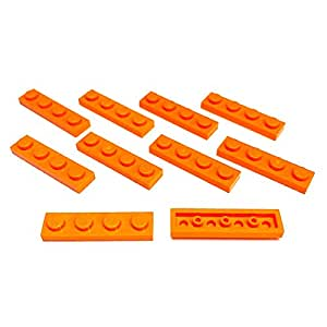 "Lego Parts: Plates ""1 x 4 Studs"" (Service Pack 3710 - 10 Orange)"