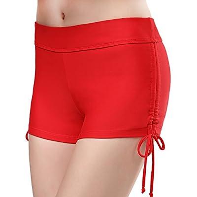 SHEKINI Women's Swim Shorts Adjustable Drawstring Side Shirred High Waisted Bikini Bottom