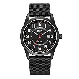 Black Military Analog Wrist Watches for Men, Mens Army Field Tactical Sport Watch Work Watch, Waterproof Outdoor Casual…