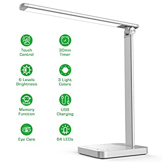 【New Version】NAPATEK Smart LED Desk Lamp with Wireless Charger APP Voice Control, Eye Caring Desk Light Touch Control Multi-Level Brightness Timer Memory Function USB Port Compatible Echo Google Home