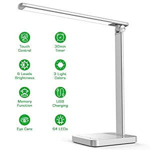 LED Desk Lamp with USB Charging, Eye Caring Desk Light Touch Control 6 Brightness & 3 Colors, 30min Timer, Memory… Lamps and Shades