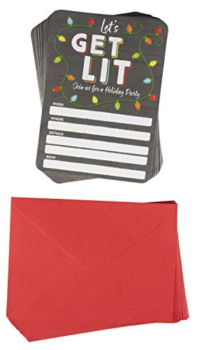 Christmas Invitation Cards - 50-Pack Holiday Party Invite