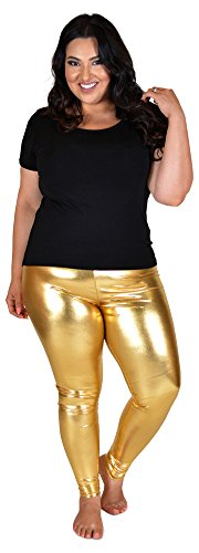 Stretch is Comfort Women's Plus Size Shiny Metallic Leggings Gold 3X