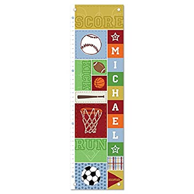 Growth Chart for Kids, Boy or Girl Height Ruler Personalized, Nursery Toddler Bedroom Playroom Decor, Sports, Basketball, Football, Baseball, Socccer: Baby
