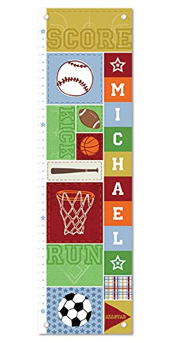 Personalized Custom Name Keepsake Growth Chart Height Ruler for Boys Girls Kids Room Wall Hanging Canvas Children's Baby Nursery Décor, Baseball Football Basketball Soccer Sports | I See Me! by I See Me!