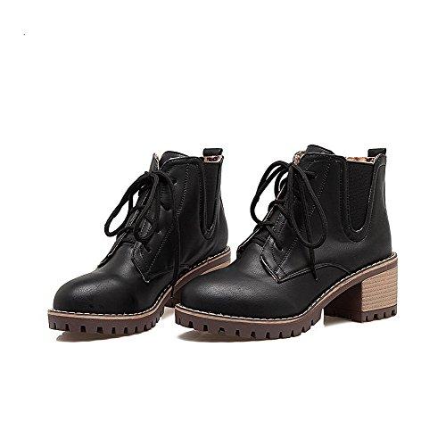 Boots Toe Round Heels AgooLar Solid Kitten Black Women's Microfibre q050wCTE