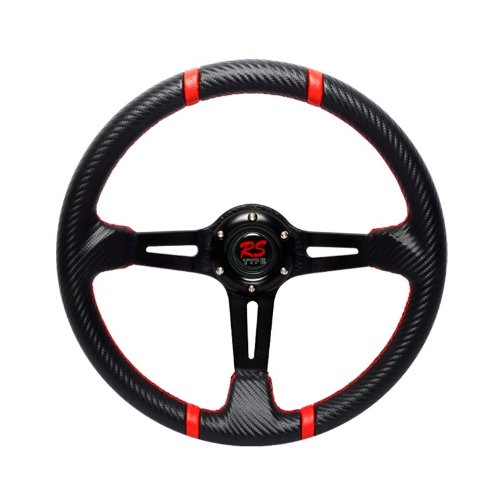 350mm RS TYPE Black Carbon Style Steering Wheel with Red Stitching ()