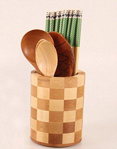 Rainbow Love Creative Bamboo Kitchen Utensil Holder Drainer Cutlery