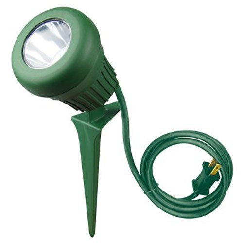 Woods 0434 LED 60-Watt 200 Lumen Stake Light, Weather Resistant, Heavy Duty Stake, Durable Fixture, Polarized Plug with 3-Foot Cord, 5 LEDs, Green Finish, 2 Extra Red and Green Lenses by Yard Master