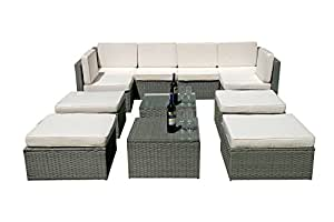 MCombo 12 PC Deluxe Outdoor Garden Patio Rattan Wicker Furniture Sectional Sofa Cushioned Seats