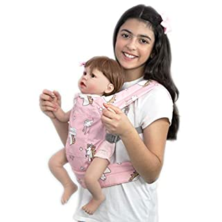 Primo Passi Macrobaby Doll's Maternity Baby Doll Carrier, Front and Back Toy Carrier Reborn Doll Carrier (Unicorn)