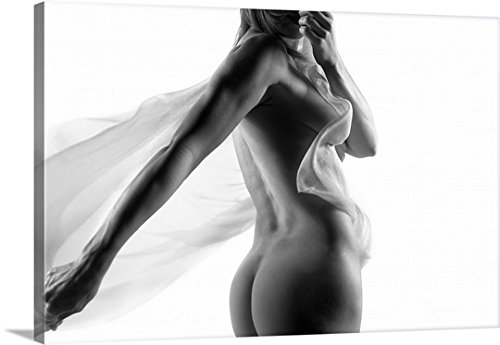Canvas On Demand Premium Thick-Wrap Canvas Wall Art Print entitled Nude woman with fabric