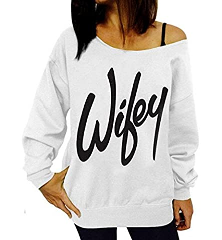 DBFACT Women's One Off Shoulder Letter Print Long Sleeve Casual T Shirt Summer Top Blouse (XXL, - Best White Blouse