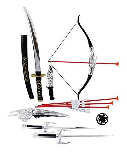 [Ninja Warrior Bow & Arrow Archery Set for Kids with Katana Sword and Toy Weap] (Megaman Hat)