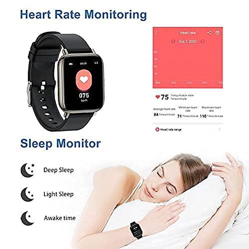 Smartwatch, 1.69\'\' Reloj Inteligente Hombre Mujer, Impermeable IP68 Reloj Deportivo con Pulsómetro, Monitor de Sueño, Monitores de Actividad, Cronómetro, Podómetro, Pulsera Actividad para iOS Android