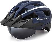 VICTGOAL Adult Bike Helmet for Men Women Detachable Magnetic Goggles and Sun Visor Bicycle Helmet Mountain Roa