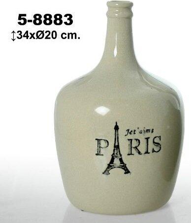 DonRegaloWeb - Botella de cerámica decorada con logo jet´ aime parís y con colores blanco