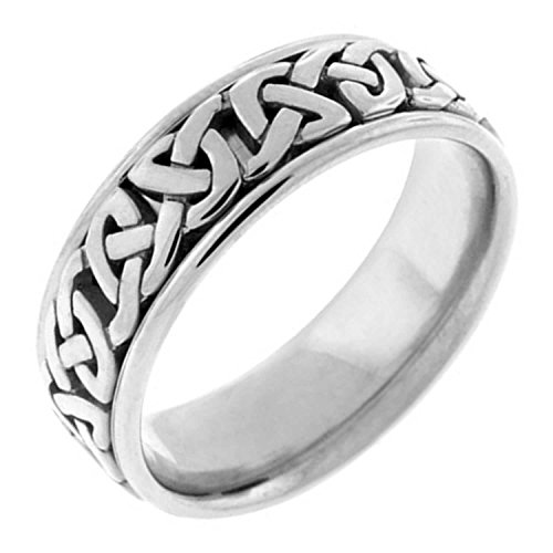 14K White Gold Celtic Love Knot Men's Comfort Fit Wedding Band (7mm) Size-9c1