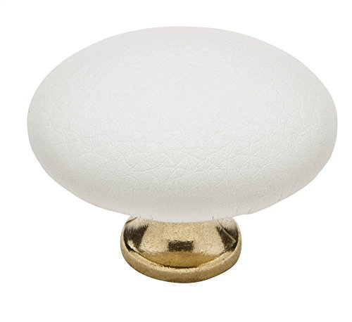 Cabinet Knob - 1 1/2'' Diameter - Covered Burnished Brass - White Finish (Set of 10) by Knobware