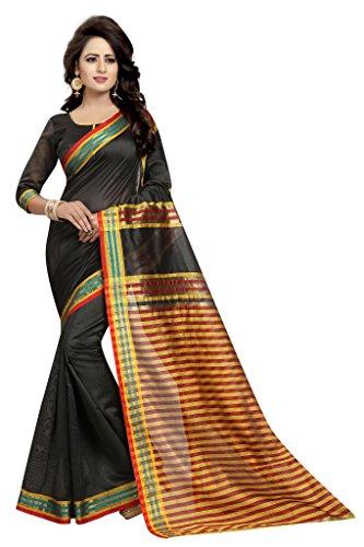 `S Party Wear Cotton Silk Saree Sari (Black) ()