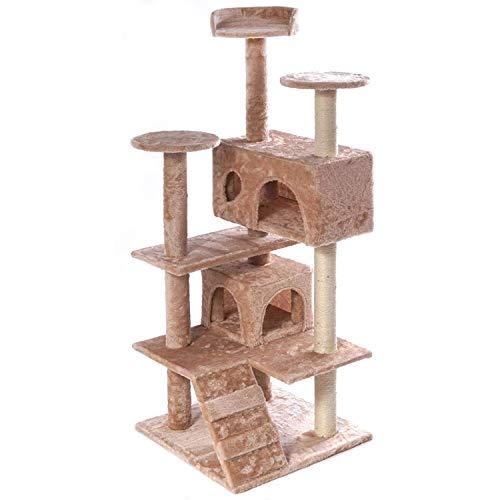 XL Kratzbaum Katzenkratzbaum Katzenbaum NATUR SISAL PLÜSCH Kletterbaum Katzen mit Spiel und Kuschelmöglichkeiten