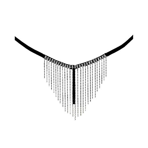 (Deargirl Sexy Creations Tassel Rhinestones G-String (Black),One Size (Fits Women Sizes 2 to)
