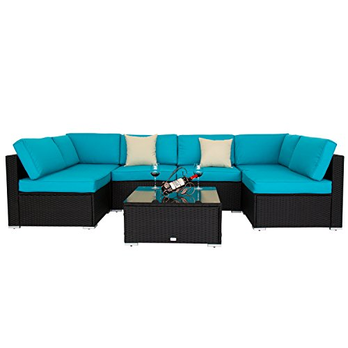 Kinbor 7 PCs Outdoor Garden Furniture PE Rattan Wicker Sofa Sectional Furniture Cushioned Deck Couch Set Blue Cushions (Deck Furniture Sets)