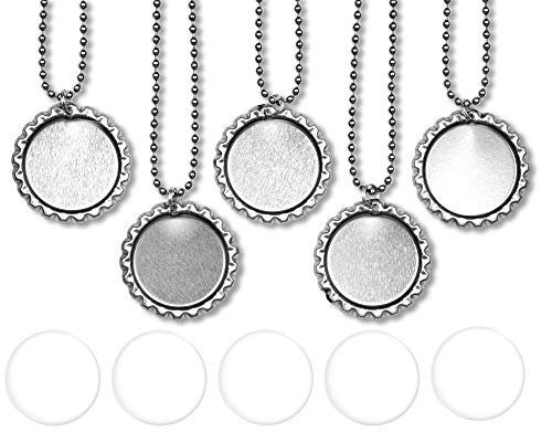 "Bottle Caps,Beads and More (™) 10 Flat Bottle Cap pendants, 10 Epoxy Stickers and 10 24"" Inch 2.4 mm ball chains - Bottle cap necklace kit"