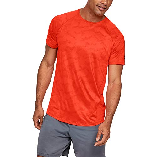 Under Armour MK1 Short Sleeve Printed, Orange Glitch//Pitch Gray, X-Large (Under Armour Heatgear Short Sleeve T Shirt Mens)