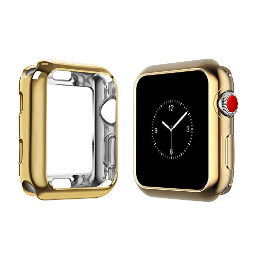 top4cus Environmental Soft Flexible TPU Anti-Scratch Lightweight Protective 42mm Iwatch Case Compatible Apple Watch Series 4 Series 3 Series 2 Series 1 - Gold ()