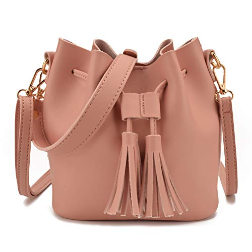 Jiaruo Women Leather Tassel Design Ladies Drawstring Handbags Shoulder bag (Pink)