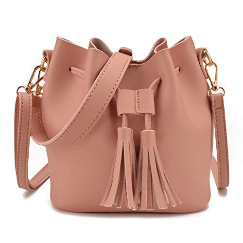 Drawstring Shopper Bag - Jiaruo Women Leather Tassel Design Ladies Drawstring Handbags Shoulder bag (Pink)