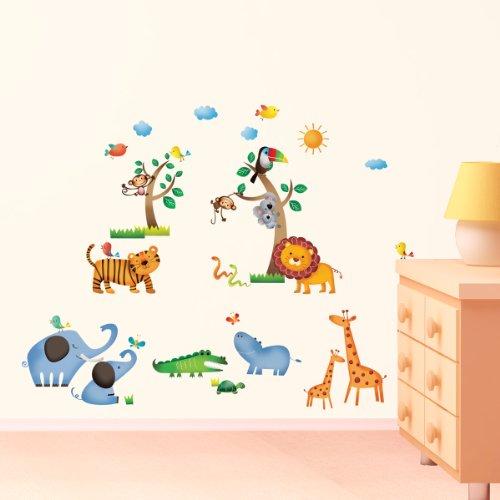 decowall dw animales salvajes de la jungla vinilo pegatinas decorativas adhesiva pared dormitorio saln guardera habitacin infantiles nios bebs