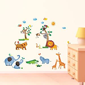 Decowall dw 1206 animales salvajes de la jungla vinilo for Pegatinas decorativas pared infantiles