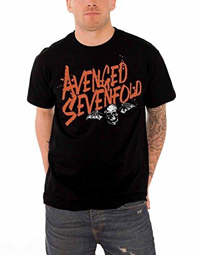 Avenged Sevenfold T Shirt Orange Splatter death bat band logo Official Mens Official Band T-shirts