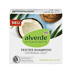 alverde Shampooing naturel cosmétique naturel solide à la noix de coco – 1 x 60 g