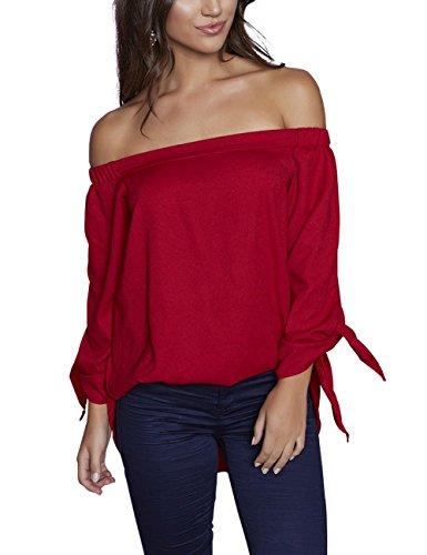 Just Quella Women's Off Shoulder Loose Shirt Blouse 8422 (L, Claret Red)