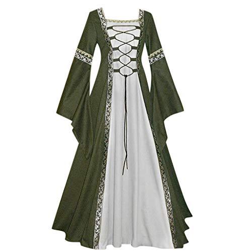 (Women's Vintage Maxi Dress Plus Size Renaissance Medieval Irish Costume Over Dress Celtic Gothic Cosplay Long Dress (Green, XXXXL))